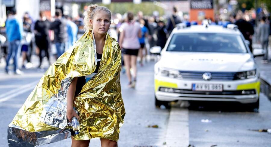 Søndag d. 17. september 2017 blev der løbet Copenhagen Half Marathon 2017. Mere end 20.000 deltog, men løbet blev aflyst midtvejs aflyst på grund af farligt vejr- blandt andet blev to løbere lettere såret af et lyn.. (Foto: Bax Lindhardt/Scanpix 2017)