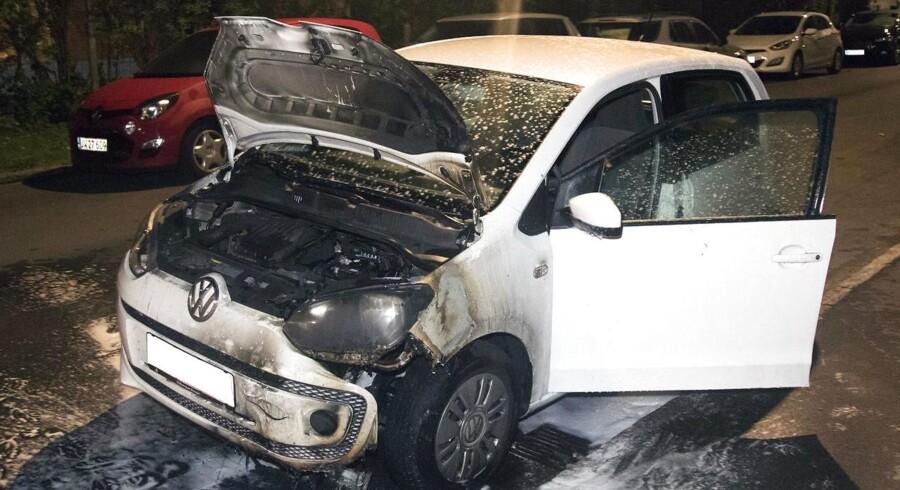 Udbrændt bil på Kretavej i København natten til søndag 21. august. Arkivfoto: Mikkel Johansen/Alarm 112