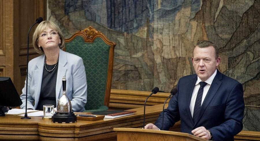 Folketingets formand Pia Kjærsgaard og statsminister Lars Løkke Rasmussen ved Folketingets åbning.