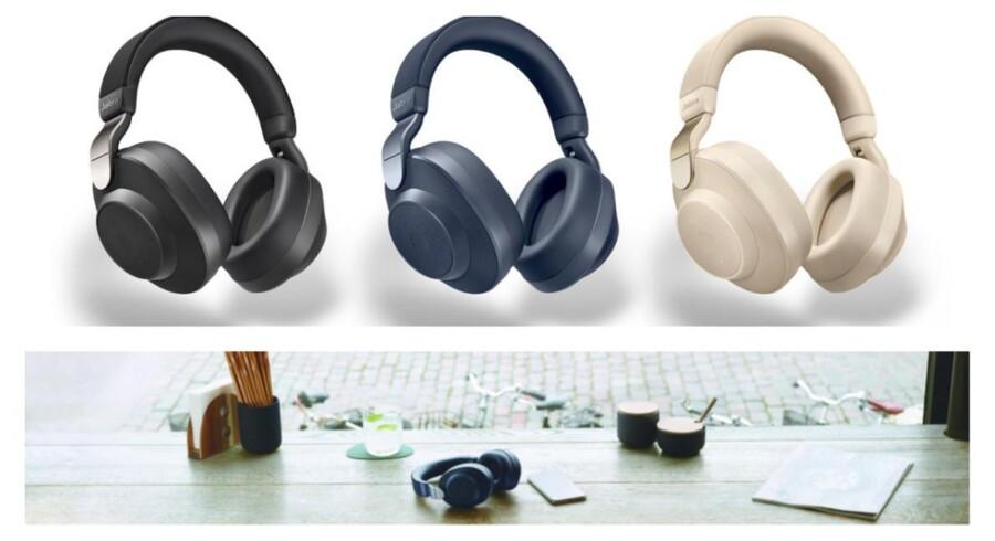 De nye, trådløse Jabra Elite 85h-hovedtelefoner lover 32 timers batteritid med den automatisk tilpassede støjdæmpning aktiveret og har otte mikrofoner samt 40 mm specialbyggede højttalere indbygget. Foto: Jabra