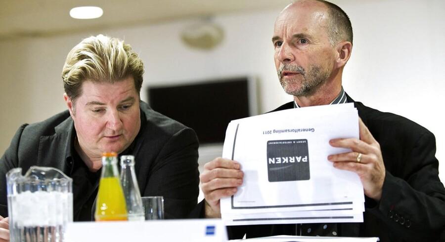 Erik Skjærbæk og Karl Peter Korsgaard Sørensen ejer henholdsvis 22 og 21 pct. af Parken, der snart kan modtage et amerikansk købstilbud. Arkivfoto: Keld Navntoft/Ritzau Scanpix
