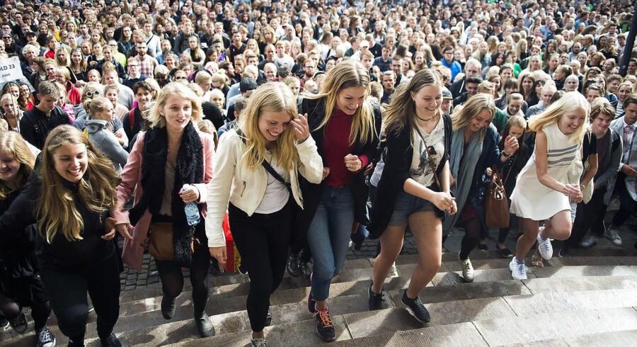 I 2018 blev 64.943 ansøgere tilbudt en plads på en videregående uddannelse. Billedet stammer fra den årlige immatrikulationsfest på Københavns Universitet, hvor nye studerende bliver budt velkommen til et nyt studieliv.
