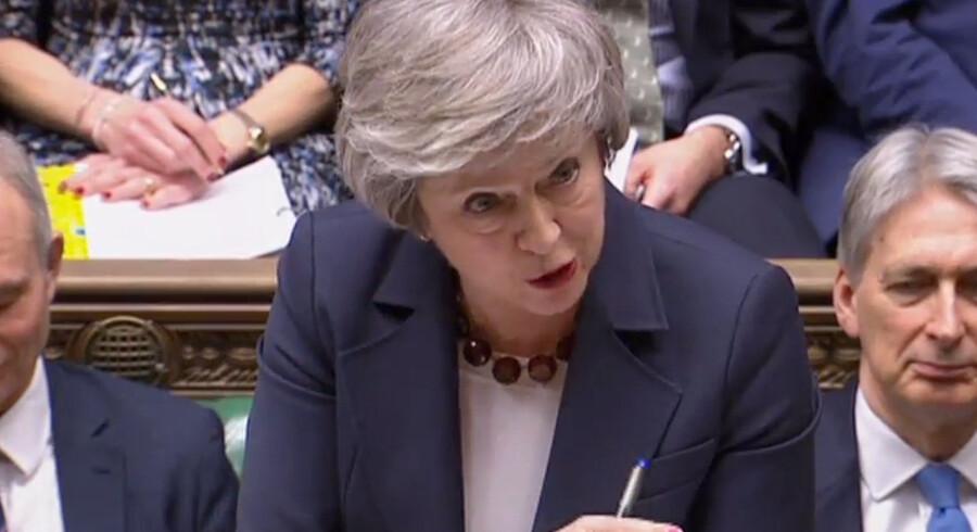 Storbritannien vil forlade EU den 29. marts, fastslår premierminister Theresa May, som afviser mange spekulationer om, at landets udtræden kan udsættes. Ho/Ritzau Scanpix