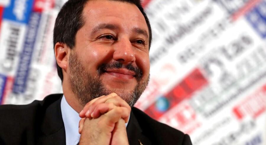 Italiens vicepremierminister Matteo Salvini blev i sin tid kendt for at være mere til stede i nationale TV-studier end i Europa-Parlamentet. Han tilhørte den gruppe af skeptikere, som var fraværende i parlamentet. Arkivfoto: Tony Gentile/Ritzau Scanpix