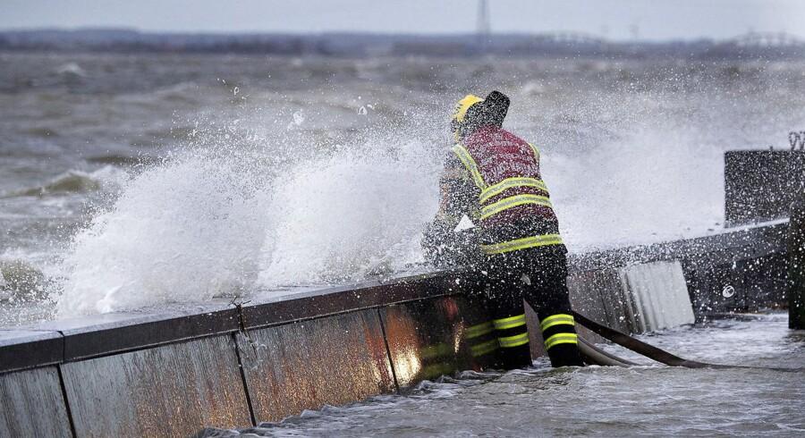 ARKIVFOTO. Forhøjet vandstand ved Nordsjællands kyst kan føre til kystnære oversvømmelser og betydelig skade på klitter, diger, havne og bygninger. Her ses