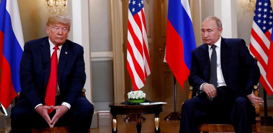 USAs præsident Donald Trump under topmødet med Ruslands præsident Vladimir Putin i Helsinki. Juli 2018.