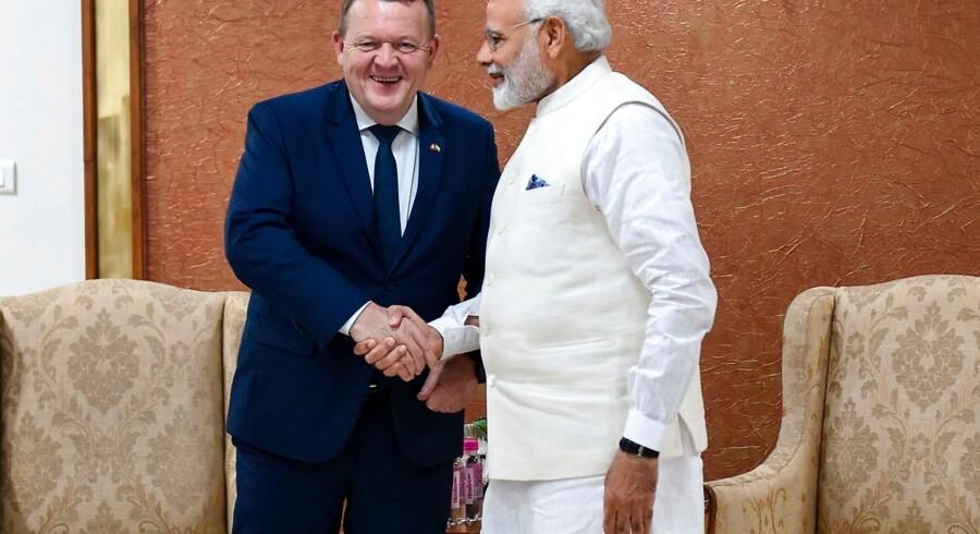 Arkiv. Lars Løkke Rasmussen (tv.) og Indiens premierminister Narendra Modi (th.).