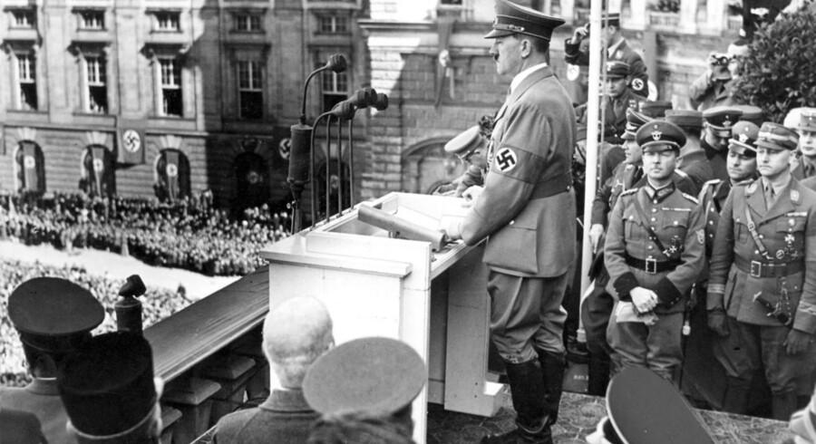 Nazitysklands rigskansler Adolf Hitler holder tale i Østrig: Den tyske diktator havde øjensynligt planer om at udbrede sin jødeforfølgelse til USA og Canada. Foto: Svend Herløw/Ritzau Scanpix