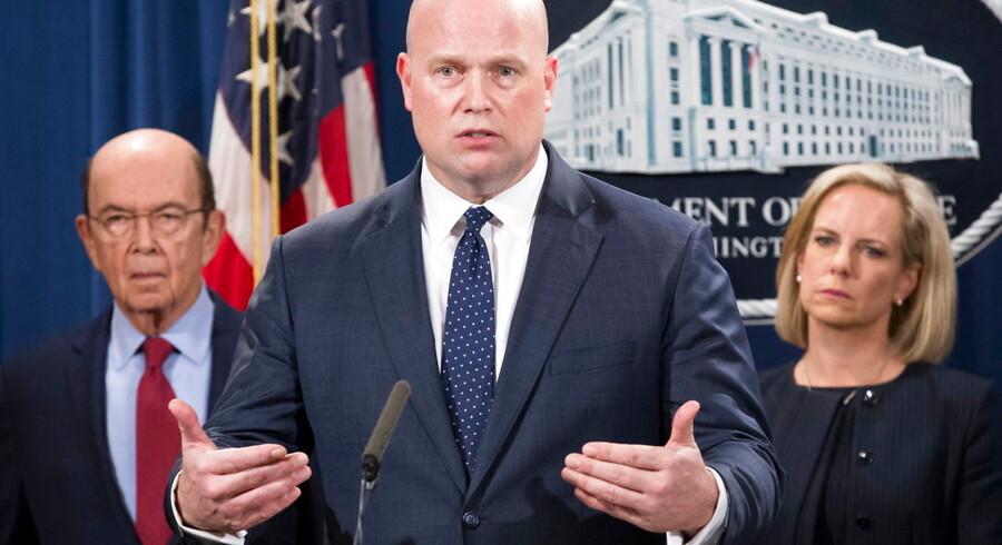 Matthew Whitaker, USAs fungerende justitsminister, til mandagens pressekonference om svindeltiltalen mod kinesiske Huawei. EPA/MICHAEL REYNOLDS