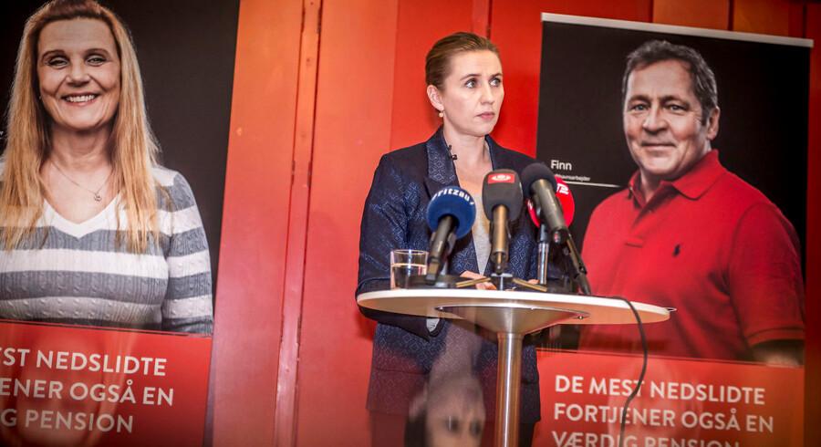Socialdemokratiets formand Mette Frederiksen præsenterer udspillet »De mest nedslidte fortjener også en værdig pension« på et pressemøde på Plejecenter Sølund i København, 22. januar 2019.