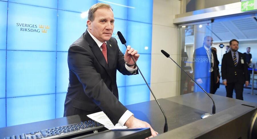Der er nok at tage fat på i den svenske økonomi for statsminister Stefan Löfven (S). Efter en række flotte år karakteriserer Nordea nu den svenske økonomi som den svageste i Norden. Arkivfoto: Jessica Gow/TT/Ritzau Scanpix