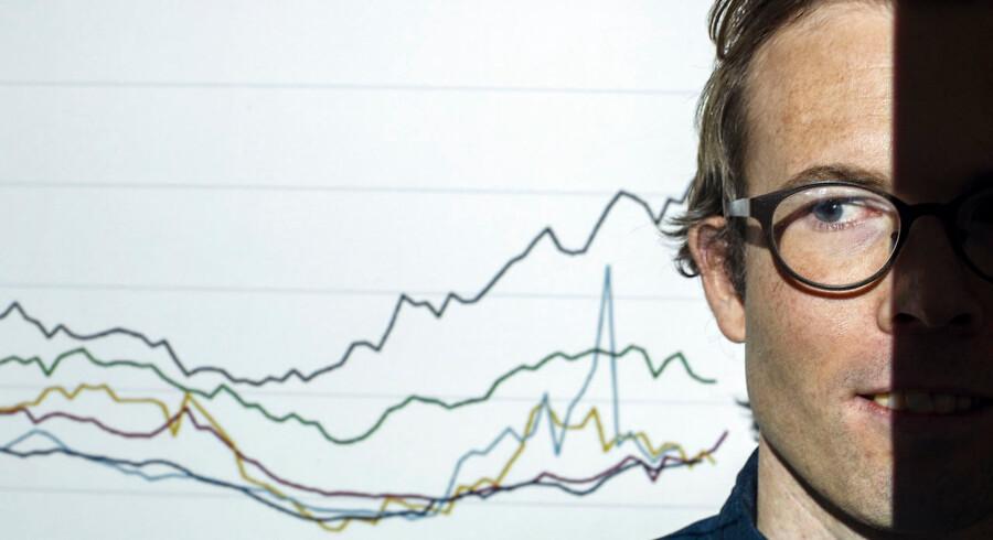 Postdoc Jakob Egholt Søgaard foran kurve om en procent indbyggere med højest indkomst i forskellige lande.