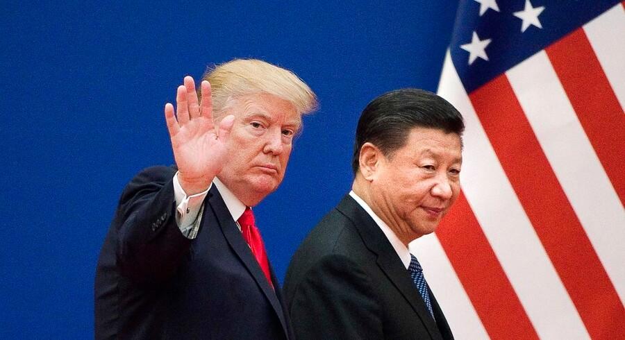 Handelsvåbenhvilen fra 1. december mellem præsident Trump og Kinas præsident Xi udløber 1. marts, og det er tvivlsomt, om man når en aftale inden deadline. Ingen af parterne har dog interesse i en optrapning af konflikten. Arkivfoto: Nicolas Asfouri/AFP/Ritzau Scanpix