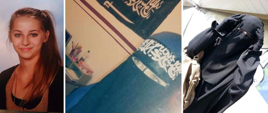 Samra Kesinovic – fotograferet før sin afrejse (t.v.) og på propagandabilleder fra Islamisk Stat. Hun blev angiveligt gjort til sexslave og dræbt med en hammer, da hun forsøge at flygte, har det østrigske medie Kronen Zeitung skrevet. Det er ubekræftet.