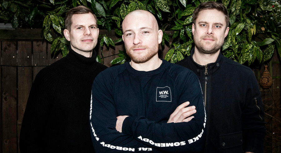 Cofoco-koncernen investerer i iværksættervirksomheden bag den nye kaffeenergidrik, Ayoola Organic Cold Brew Energy. Fra venstre Casper Seedorff, Mathias Wehlitz og Nicolas Förderer.