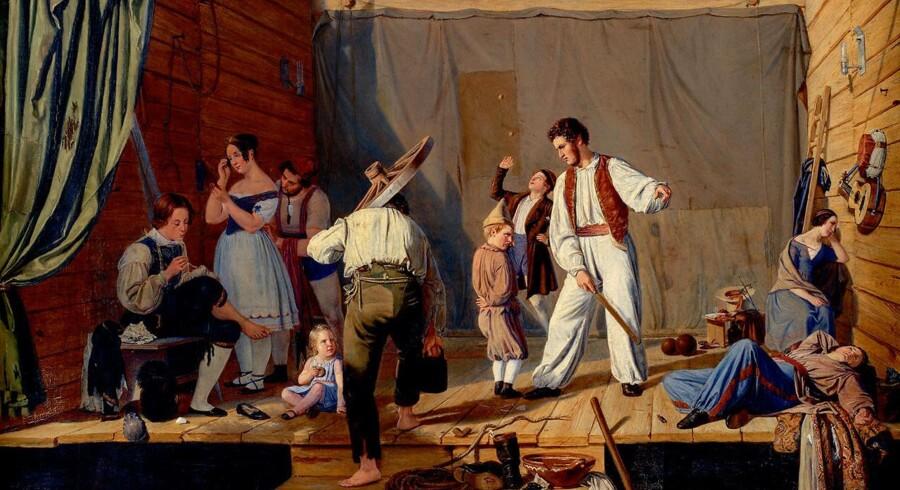Den dansk-jødiske genremaler Julius Friedländer var en af guldalderens mest populære kunstnere. Han malede gerne gøgler- og teaterscener som denne. Det blev udstillet i 1841 på Charlottenlund maleriudstilling og købt til Den Kongelige Malerisamling. Men genremalere som Friedländer blev senere nedvurderet og kom ikke med som de repræsentative guldaldermalere. Charlotte Christensen opfordrer Statens Museum for Kunst til at tage Friedländer og andre glemte malere fra perioden 1810-1848 op fra magasinerne.