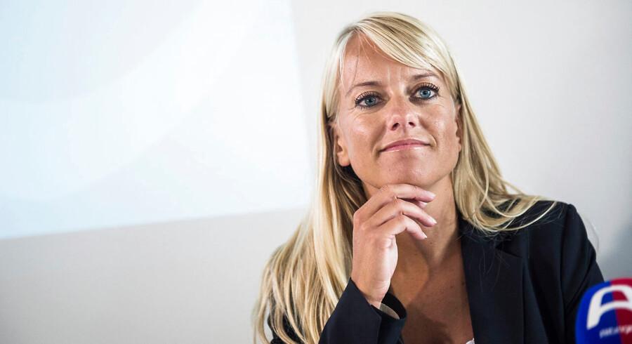 Arkivfoto af Pernille Vermund fra pressemødet med Nye Borgerlige 22 september 2016, da partiet havde afleveret det nødvendige antal underskrifter til at stille op til Folketinget.