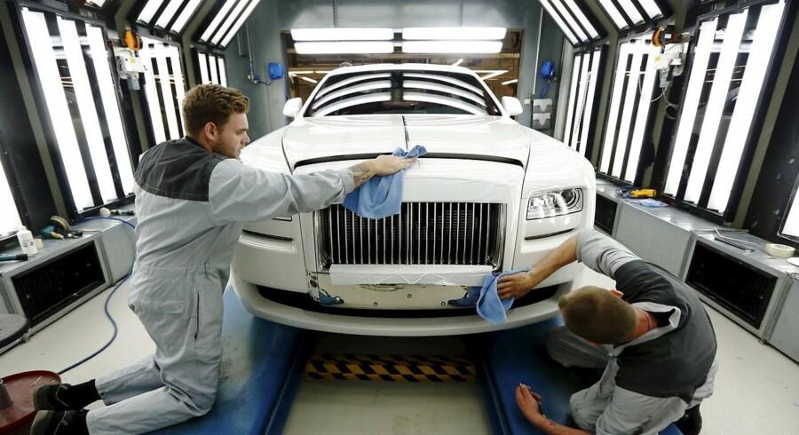 Den ikoniske britiske aristokratbil, Rolls Royce, der produceres af BMW, er en af de biler, hvis produktion – og dermed arbejdspladser – er i fare, såfremt et brexit uden handelsaftale bliver en realitet.