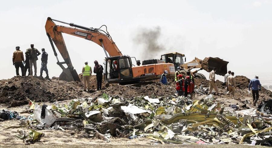 Det er endnu uvist, hvad der førte til flystyrtet i Etiopien søndag.