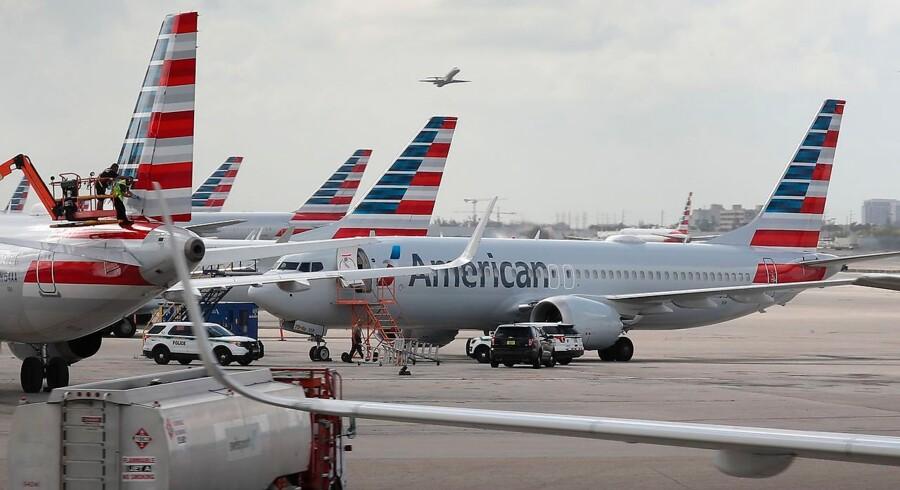 Det er fly som disse - Boeing 737 Max 8 - der har fået flyveforbud. Det er uklart, hvornår de kommer ud og flyve igen. Foto: Joe Raedle/AFP/Ritzau Scanpix.