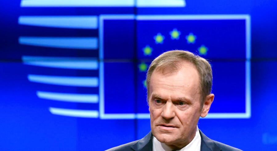 En kort forlængelse er mulig, siger EU-præsident Donald Tusk. Men kun hvis Theresa May har opbakning til sin aftale. REUTERS/Toby Melville
