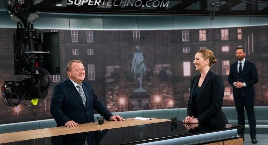 TV-duel imellem statsministerkandidaterne Lars Løkke Rasmussen (V) og Mette Frederiksen (S) i 21Søndag DR-Byen i København, søndag den 31. marts 2019. Vært er Kåre Quist.