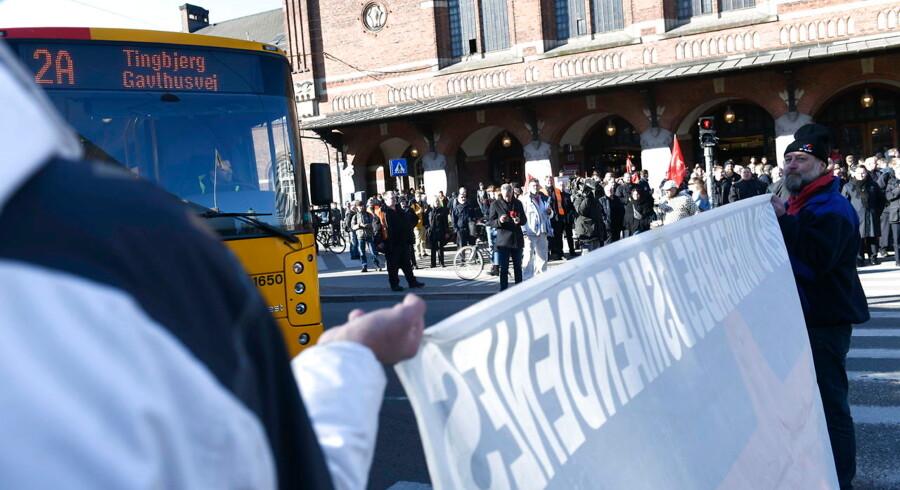 Hovedbanegården i København hvor DSB lokomotivførere strejker mandag den 1. april 2019.. (Foto: Philip Davali/Ritzau Scanpix)