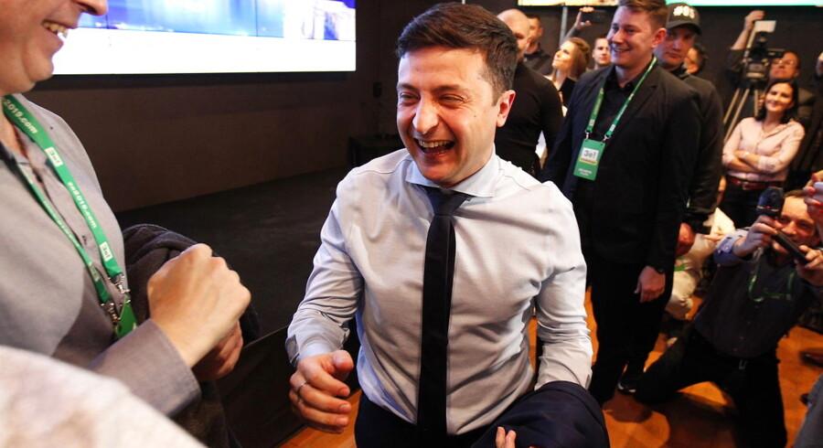 Selenskij reagerer på den første meningsmåling, der gav ham 30,1 procent af stemmerne.