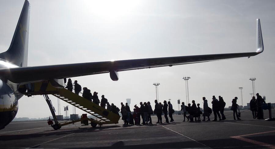 Passagerer på vej ombord på Ryanair-fly i Københavns Lufthavn fredag 15. februar 2019.