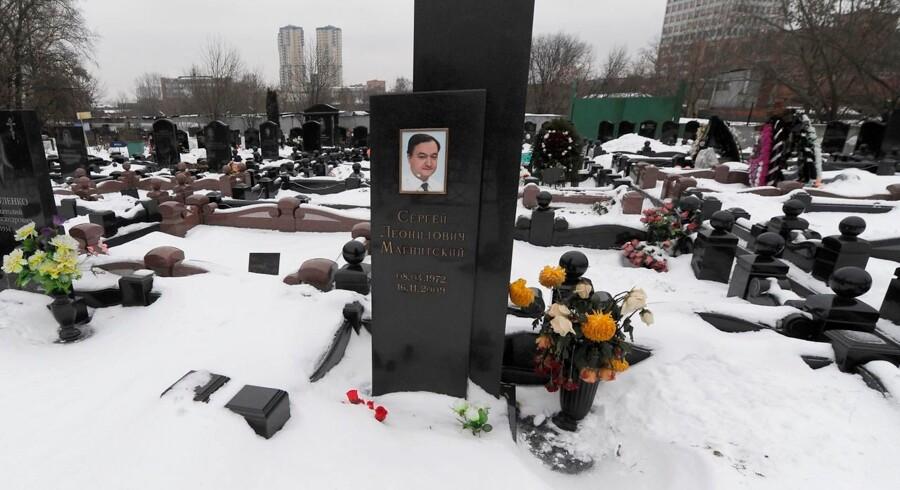 Sergey Magnitsky's gravsted i Moskva. Han døde i politiets varetægt i 2009.