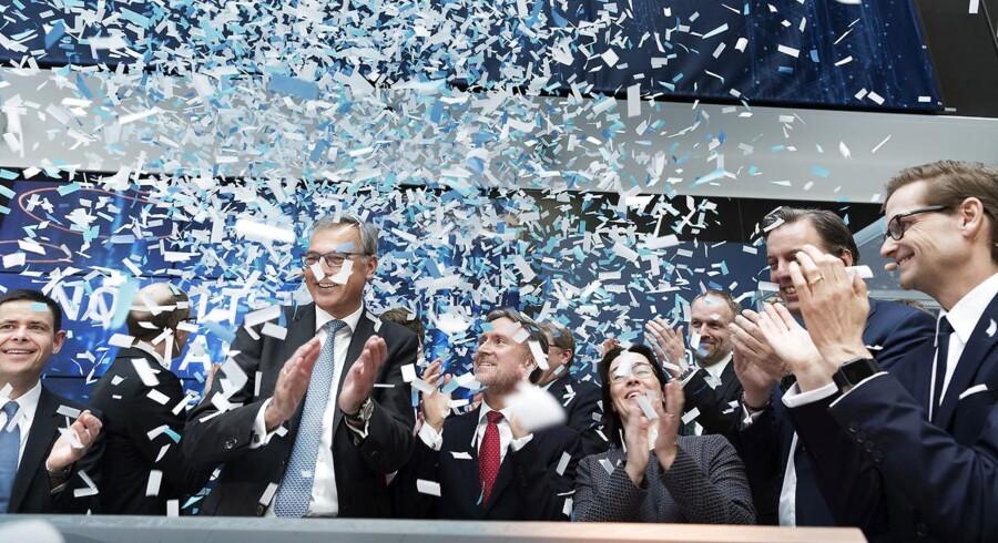 Claus V. Hemmingsen, bestyrelsesformand for Maersk Drilling, skød torsdag morgen børsnoteringen i gang i hovedkvarteret i Lyngby. (Foto: Claus Bech/Scanpix 2019)