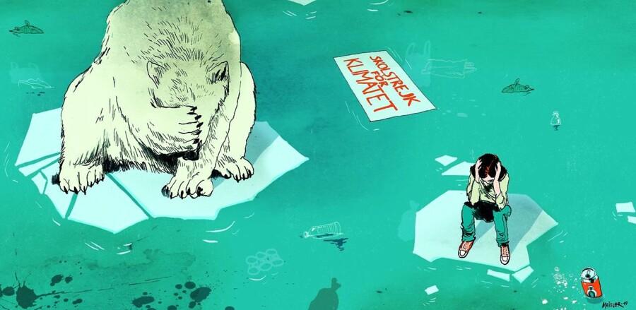 »Hvor underligt det end kan lyde, så er klimabevægelsen næppe solidarisk, den er i ordets bogstavelige betydning sværmerisk,« skriver Anders Fogh Jensen. Tegning: Rasmus Meisler