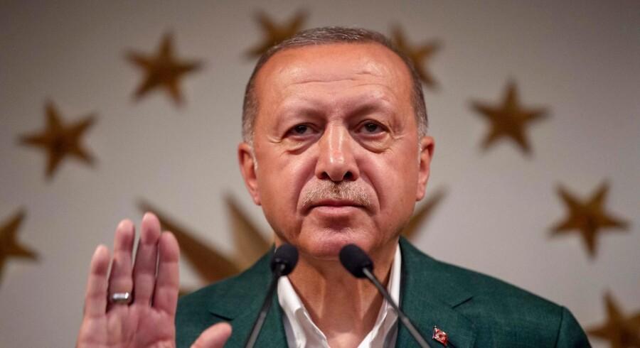 Foto af præsident Recep Tayyip Erdogan.
