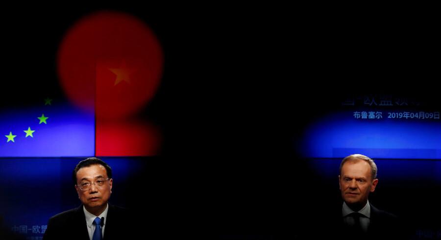 Kinas premierminister, Li Keqiang, og formanden for Det Europæiske Råd, Donald Tusk, holdt pressemøde efter gårsdagens EU-Kina topmøde.