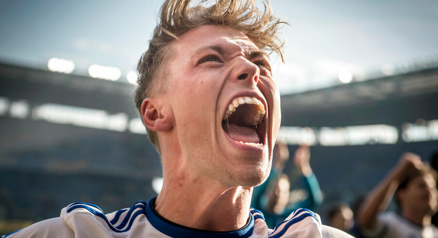 FC Københavns Viktor Fischer jubler efter Superligakampen mellem Brøndby IF og FC København på Brøndby Stadion i Brøndby, søndag den 14. april 2019. FCK vinder kampen 1-2.