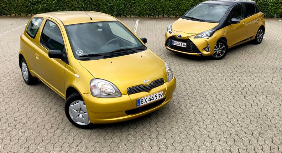 Toyota Yaris introducerer en 20 års jubilæumsmodel (th) for at fejre introduktionen af den første Toyota Yaris (tv.) tilbage i 1999. I sig selv ikke spektakulært. Men testudgaven af origianlen fra 1999 har kun kørt ca. 1.000 km, og det giver en unik mulighed for at teste, hvad der er sket med bilen de seneste 20 år. Begge biler er i kilometermæssig forstand nye.