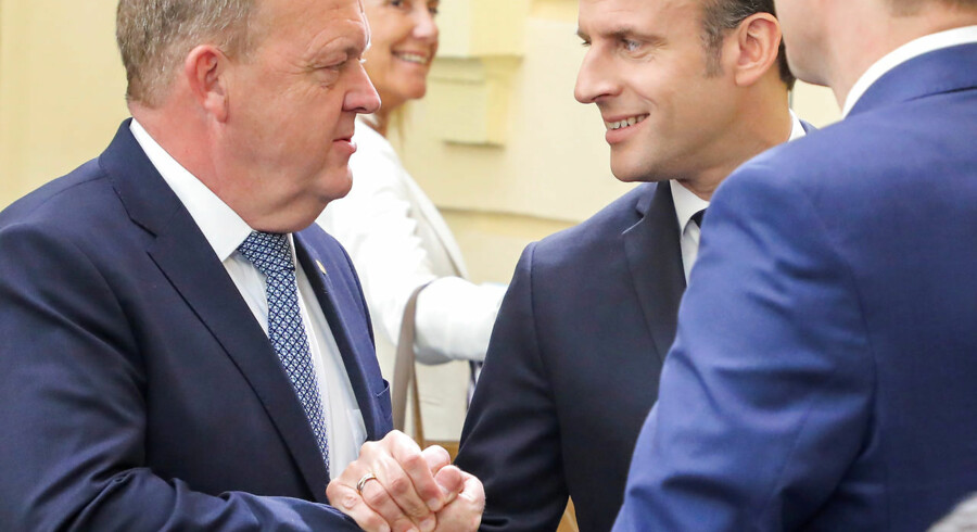 France's President Emmanuel Macron greets Denmark's Prime Minister Lars Lokke Rasmussen during the informal meeting of European Union leaders in Sibiu, Romania, May 9, 2019. Ludovic Marin/Pool via REUTERS