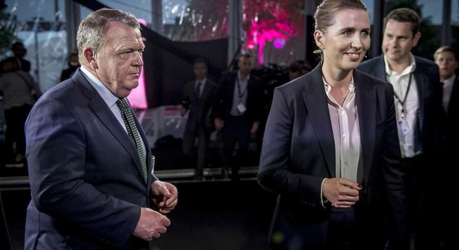 S-formand Mette Frederiksen og statsminister Lars Løkke Rasmussen (V) var søndag aften i direkte duel under valgfolkemøde hos TV2 på Kvægtorvet i Odense.