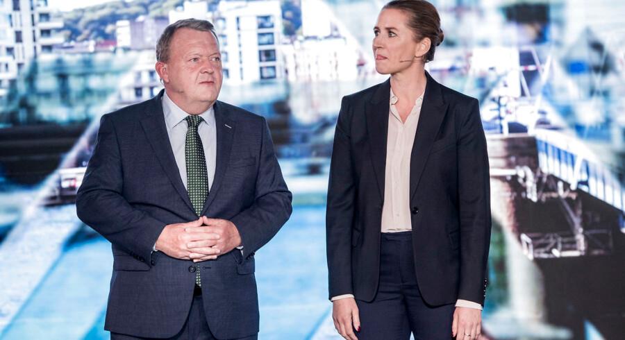 Mette Frederiksen (S) og statsminister Lars Løkke Rasmussen (V) var søndag aften i duel ved Valgfolkemøde hos TV 2 på Kvægtorvet i Odense.