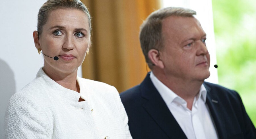 Statsminister Lars Løkke Rasmussen fra Venstre og Mette Frederiksen fra Socialdemokratiet mødes onsdag i valgduel i Folkehjem i Aabenraa.