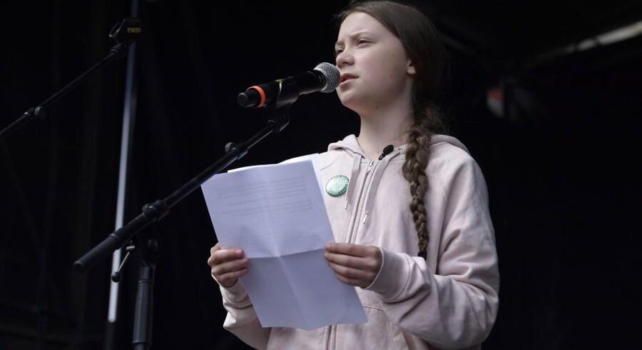 Den svenske klimaaktivist Greta Thunberg løb med opmærksomheden til Folkets Klimamarch foran Christiansborg Slot.