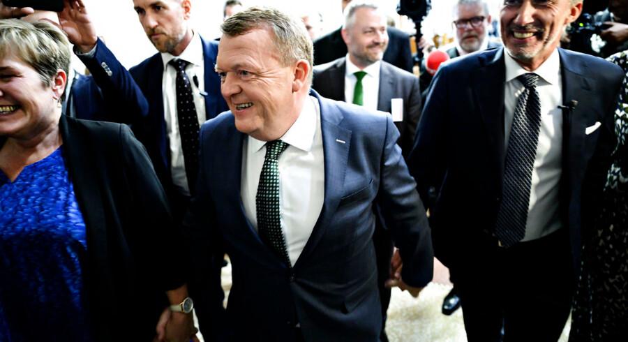 Lars Løkke Rasmussen og Morten Løkkegaard ankommer til valgfest hos Venstre i Landstingssalen på Christiansborg i København under Europa-Parlamentsvalget 2019.