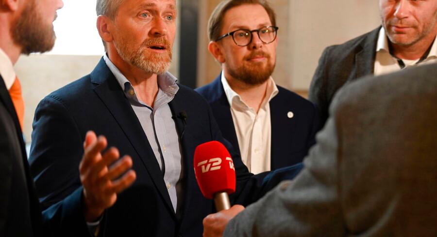 Partiformand Anders Samuelsen, Simon Emil Ammitzbøll-Bille og Joachim B. Olsen deltager, når Liberal Alliance præsenterer iværksætterudspil hos iværksætter Toke Kruse, som ejer Billy og Bilagscan i København, fredag den 31. maj 2019.