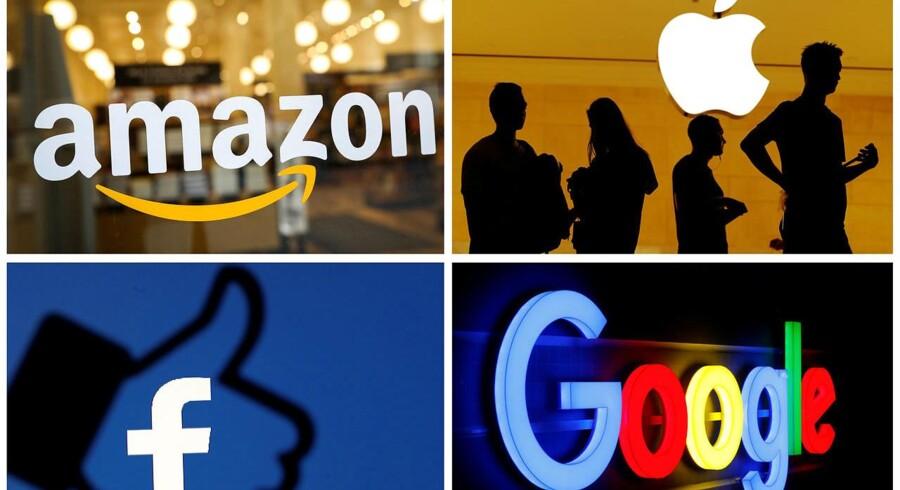 Amazon, Apple, Facebook og Google står til at blive undersøgt af de amerikanske myndigheder, og det kostede øjeblikkeligt dyrt på deres markedsværdi, som styrtdykkede. Arkivfoto: Reuters/Ritzau Scanpix