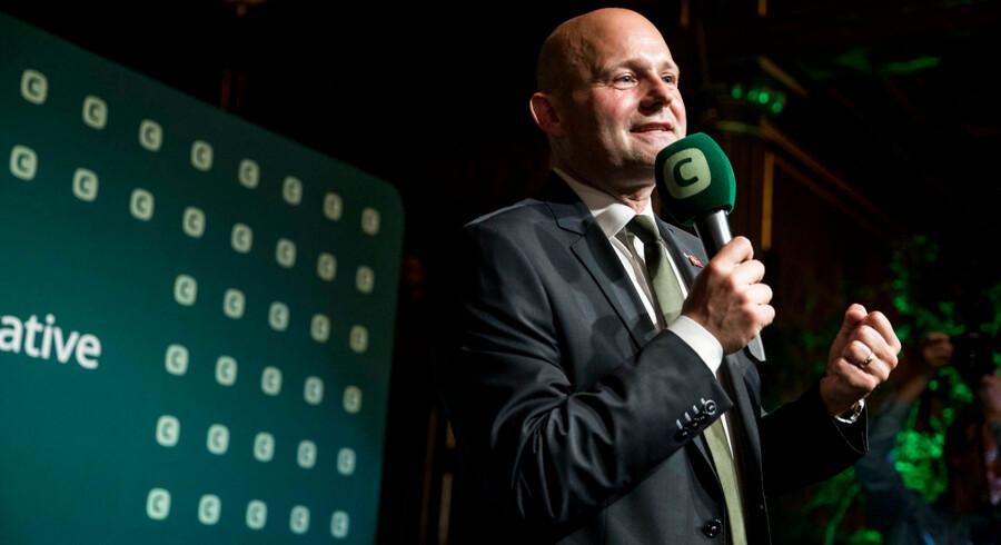 Selv om VLAK-regeringen går af torsdag, kan den konservative leder Søren Pape Poulsen glæde sig over, at partiet går markant frem.