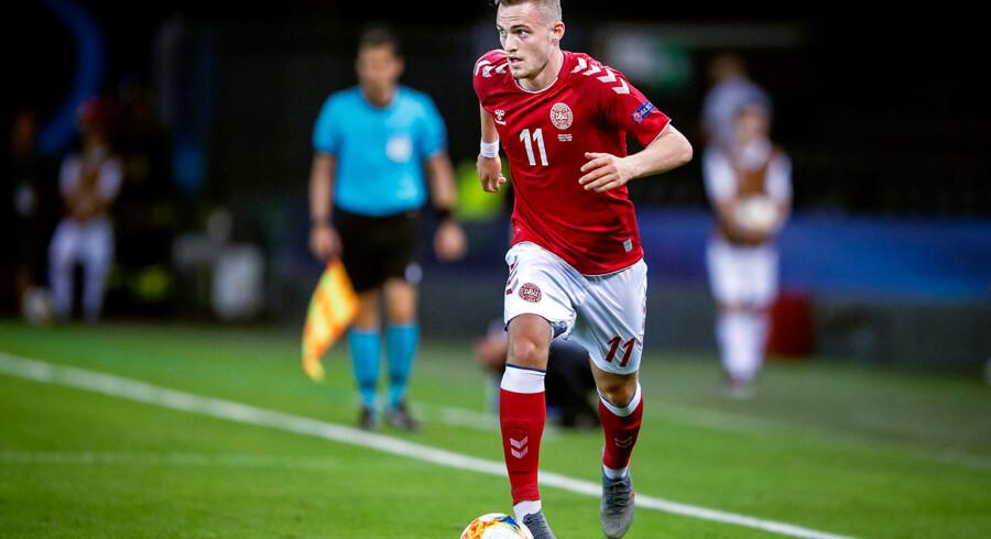 Danmarks Jacob Bruun Larsen under U-21 EM kampen mellem Danmark-Tyskland på Stadio Friuli i Udine, mandag den 17 juni 2019.