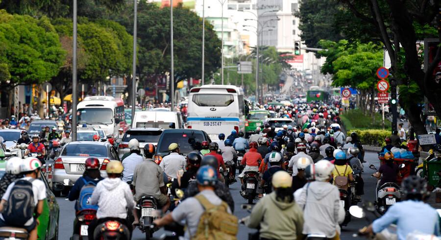 Tæt trafik i Ho Chi Minh City. En ny handelsaftale mellem EU og Vietnam er snart helt på plads.