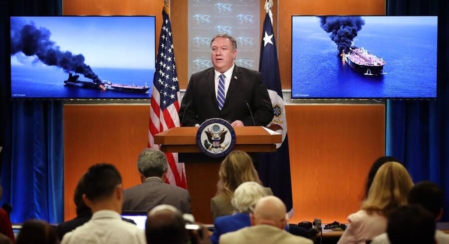USAs udenrigsminister, Mike Pompeo, præsenterede 13. juni billeder og videoer, som skulle dokumentere, at Iran står bag angreb på olietankskibe i Hormuzstrædet.