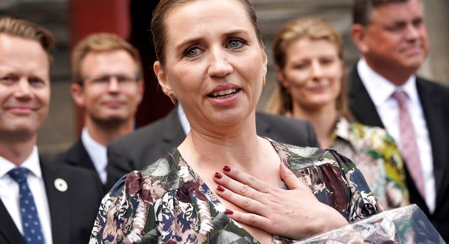 Mette Frederiksen præsenterer torsdag d 27.06.2019 sin socialdemokratiske mindretalsregering på Amalienborg i København.