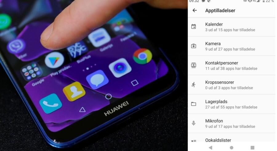 Under Indstillinger kan man på en Android-telefon se, hvilke tilladelser den enkelte app har fået. Men en række luskede apps skaffer sig adgang, selv om man udtrykkeligt har sagt nej. Arkivfoto: Marko Djurica, Reuters/Ritzau Scanpix